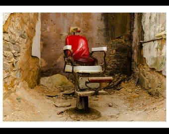 "METALLIC PHOTO ""Red Chair"" by Vondeko, Philadelphia Photography, Historic, Eastern State Penitentiary, Urban, Barber"