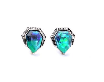 Azure Blue Art Deco Crystal Stud Earrings