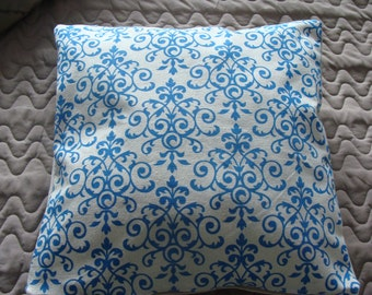 Ecru zip blue arabesque designs linen Cushion cover
