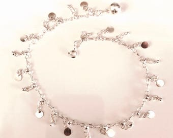 Sterling Silver Disk And Ball Anklet