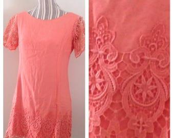 Vintage Sylvia Ann Peach Mini Dress