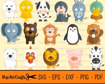 Cute Animal SVG Cut Files, Baby Zoo Animal Cut Files, Baby Farm Animal Cut Files, Penguin, Owl, Monkey, Lion, SVGs for Cricut & Silhouette
