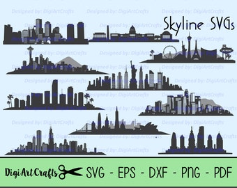 Skyline SVG cutting Files / City Skyline Vectors / Vegas SVG /  New York Cut files / Miami / Philly / Boston / Seattle / D.C. / California