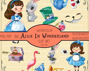 Alice in Wonderland Watercolor Elements PNG files / Alice in Wonderland clipart / Watercolor / Cheshire Cat Clipart / Transparent Background