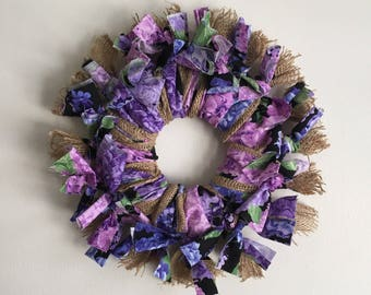 Hydrangea Burlap Country Shabby Chic Gift Idea Door/Wall Wreath
