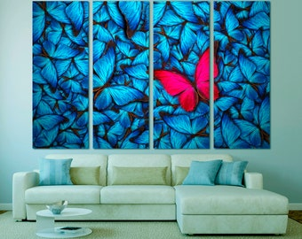 Colorful butterfly abstract fine art wall art canvas print for home decor, red butterfly original painting wall art print set on canvas