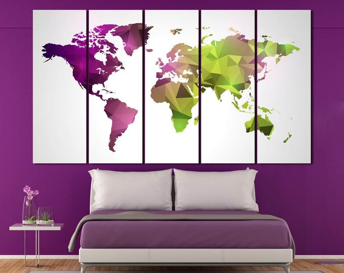 Geometric purle and green Print Canvas Set Modern world map, Abstract World Map Wall Art 3 or 5 Panels Wall Art for Home & Office Decoration