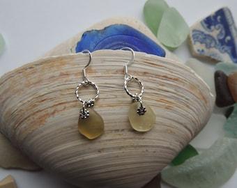 Yellow Sea Glass Dangle Earrings, Authentic Sea Glass