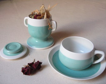 Moulin porcelain Limoges Fox / infusion in aluminite Cup / blue celadon / ceramic teapot / old French dishes