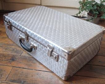Old suitcase aluminum corked / vintage luggage / suitcase metal / desk / storage / french Vintage