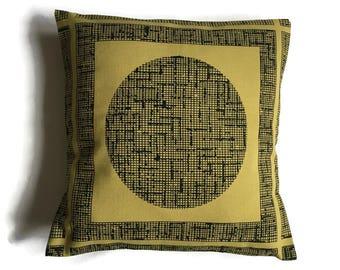 Mustard and Black, Geometric Design, Retro Style, 1980's Kitsch, Retro Cushion, On Trend, Stylish, Throw Pillow - SALE ITEM