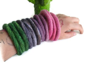 Handmade thick felted bangles Set of three Hand felted bracelets Merino wool Different colours available