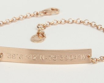 Nameplate Bracelet, Personalized 38 x 6 mm Bar, Gift for Mother,Children's Initials, Coordinates, Dates, Symbols,Custom Italian Jewelry 0392