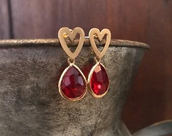 Ruby heart earrings gold heart earrings
