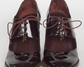 Absolutely Adorable Chanel Burgundy Patent Leather Maryjane Shoes!