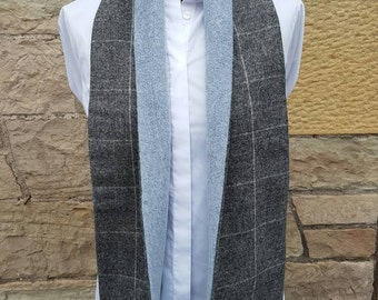 Scottish tweed Scarf, Scottish Hand Made, Scottish Tweed, Fleece Lined, Unisex Scarf