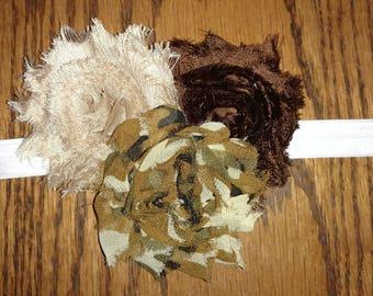 Camo, Tan, and Brown Shabby Flower Headband - Choice Elastic - Custom Size