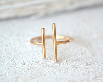 Parallel Bar Ring, Minimalist Ring, Long Gold Bar Ring, Modern Ring, Double Bar Ring, Two Bar Ring, Open Ring, Double Stick Ring