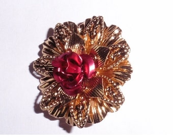 Gold Plated Brooch Flower Rose Gold Plated
