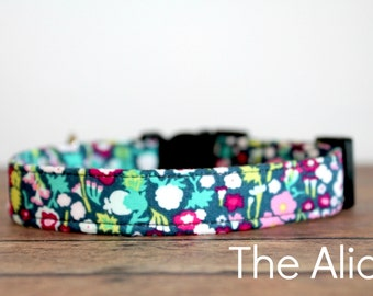 """Floral Dog Collar, Boho Dog Collar, Chic Dog Collar, Girl Dog Collar, Modern Dog Collar, Female Dog, Pretty Dog Collar """"The Alice"""""""