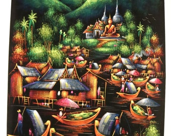 Great painting on fabric TABLE VILLAGE of THAILAND