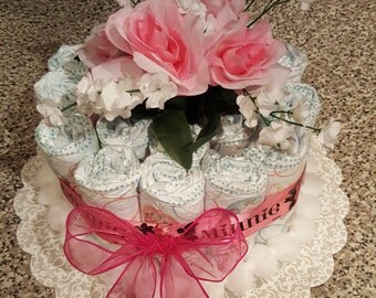 One Tier Minnie Mouse Diaper Cake