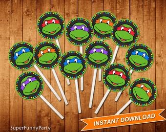 Teenage Mutant Ninja Turtles Cupcake Toppers, TMNT Cupcake Toppers, INSTANT DOWNLOAD, Digital File