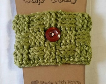 Hand crocheted coffee cup cozy...Sage green. super soft