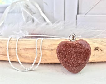 Goldstone Heart Necklace // Goldstone Crystal // Red Goldstone // Goldstone Necklace // Crystal Heart Necklace