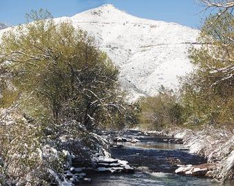 Colorado Snowy Mountain with River Digital Print