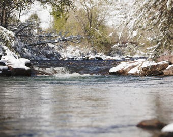 Snowy Spring/River in the Mountains Digital Print
