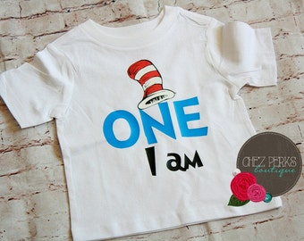 SALE Cat in the Hat 1st Birthday Outfit, Dr Seuss Birthday Shirt, Boy Cake Smash Bodysuit, Dr Seuss Party Outfit