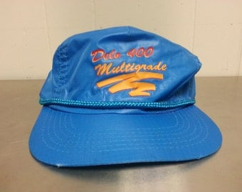 Vintage 90's Delo 400 Multigrade Nylon Snapback Dad Hat NASCAR Car Racing Blue Orange Hipster Retro