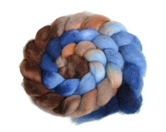 BFL 4 oz hand dyed roving, Combed Top, Blue Faced Leicester spinning fiber, blue, brown, bfl roving, bfl combed top, spinning wool - Elena