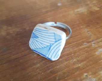 Broken china ring blue geometric adjustable ring