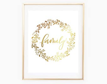 REAL GOLD FOIL Family Wreath Print // 8x10