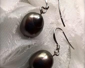 Smoky Grey Black Baroque Pearl Drop Earrings