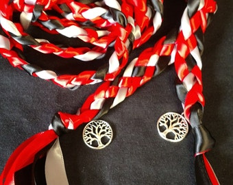 Red, Black, Silver Handfasting Ceremony Braid- Tree of Life- 6 or 9 feet- Wedding- Fast Shipping- Braided Together- Handfasting