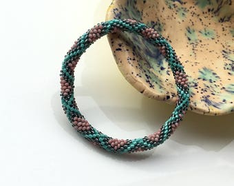 Glass Seed Bead Roll on  Beaded Nepal Bracelet Handmade by Ramila Beads, Multicolor