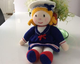 Hand knitted Sally the sailor girl doll