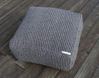 wool footstool-knitting pouf-pouf ottoman-ottoman pouf-square crochet ottoman-floor cushion-gray ottoman pouf-nursery pouf-handmade pouf