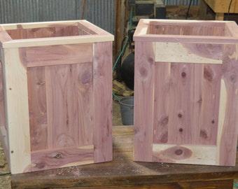 A pair of cedar planters, flower planters, planters