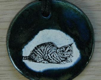 Orginal handicraft: pendant with a cute cat. jewellery charm science biology vintage