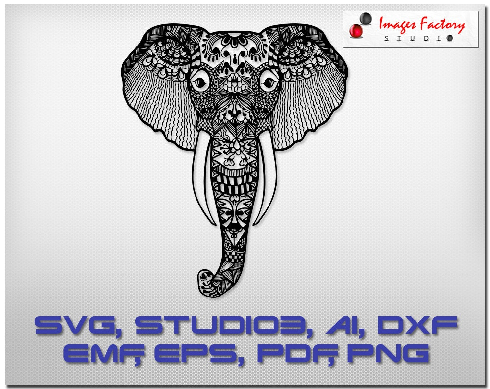 Download Elephant Zentangle svg mandala files cuttable Cricut Design