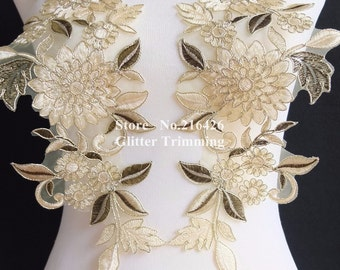 1pair=2pcs Sew-on Light Beige/Gold Flower Embroidery Mirror Pair Laces Appliques Trims Patches BNC121N