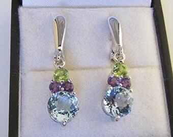 Silver earrings adorned with Amethyst Blue Topaz and Peridot, Multi-Pierres earrings, Stud Earrings stone earrings