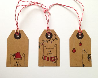 Christmas Cat Gift Tags (Set of 3)