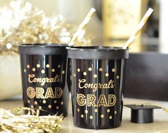 Graduation cups-set of 25-graduation party, congrats grad black and gold tableware