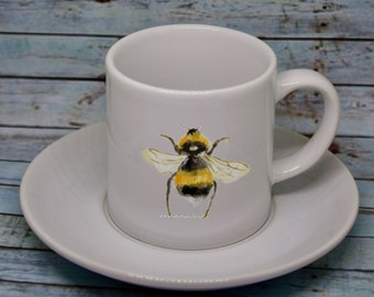 Espresso set, Bumblebee watercolour 6oz Espresso set, Ceramic Espresso cup & saucer, Coffee Lover Gift, Bumblebee gift, personalised