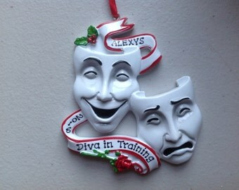 Theatre Masks , Drama, Personalized Christmas Ornament - Acting , Artist